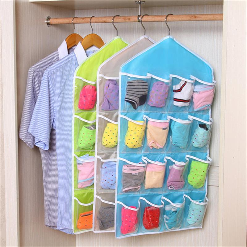 16 Grids Foldable Wardrobe Hanging Bags Underpants Bras Socks Ties Hanger Organizer Door Hanger Closet Saving Space Storage Bag