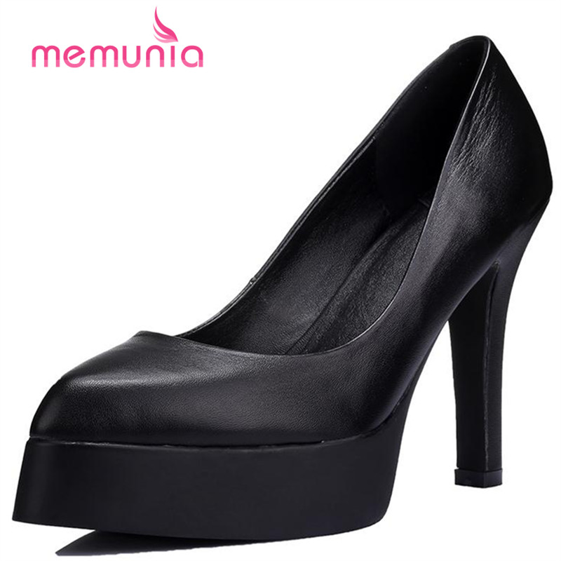 MEMUNIA Platform shoes single shallow genuine leather shoes high heels party work women pumps contracted mature solid hot temperament mature black genuine leather printing womens alphabet retro shoes shallow mouth embossed leather pumps