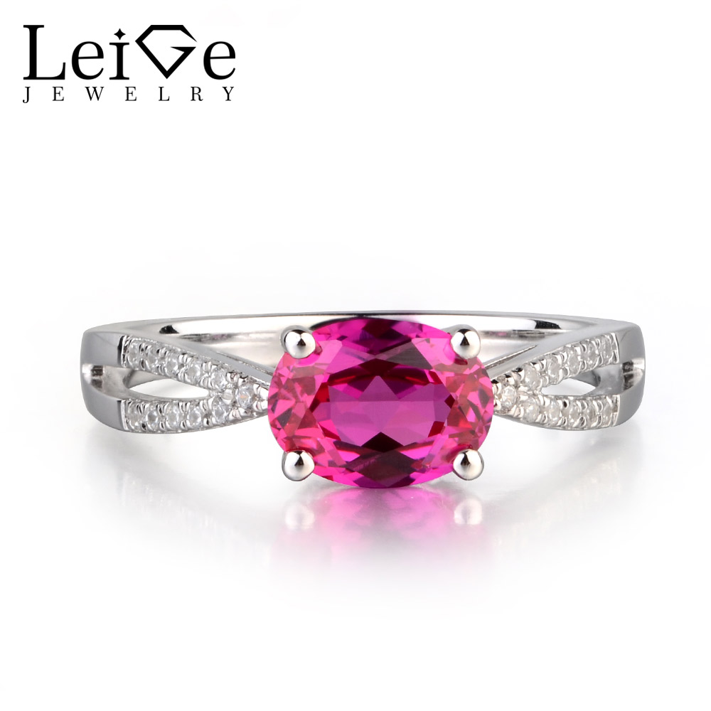 купить Leige Jewelry Lab Red Ruby Gem Engagement Romantic Ring For Woman Oval Cut Prong Setting July Birthstone 925 Sterling Silver по цене 6459.76 рублей