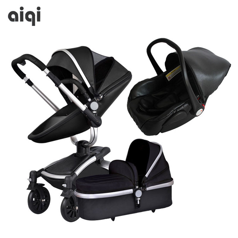 Brand baby leather PU Baby Stroller 3 in 1 High Landscape Fold Strollers for Children Travel System Prams for Newborns Free ship