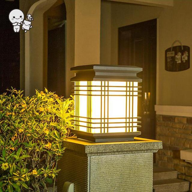 Outdoor Waterproof Marble Imitation Square Shade Landscape Lighting Fixture  Art Deco Column Pillar Pole Lamp For Garden E27 Bulb