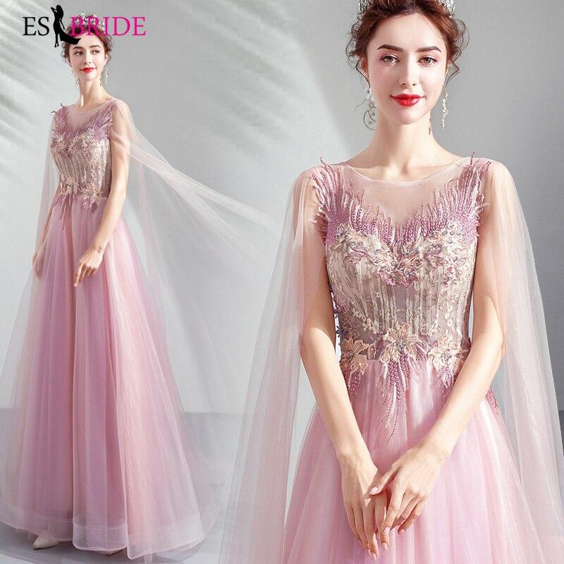 Robes De soirée Sexy Long ruban rose sans manches col rond dos nu étincelle robes De soirée formelles 2019 Robe De soirée ES2041