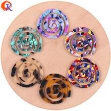 Accesorios de joyería de diseño Cordial, 30 Uds., 41x43MM, cuentas de ácido acético, bricolaje, forma de espiral, fabricación de pendientes, hechos a mano, accesorios para pendientes