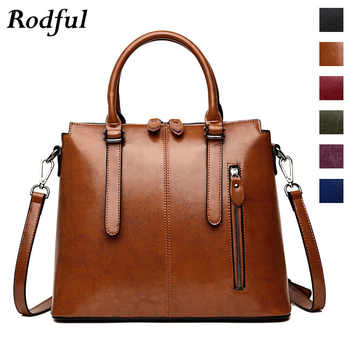 Brand Wax Oil leather tote bag handbags women's genuine leather shoulder bags female vintage casual hand bags ladies black brown - DISCOUNT ITEM  35% OFF All Category