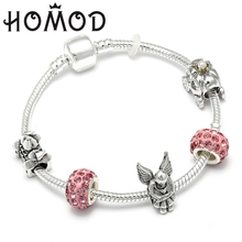 HOMOD 2019 European Beads Cute Flower Fairy Tale Fantasy Castle Silver Snake Chain Brand Charm Bracelet For Kids Gifts