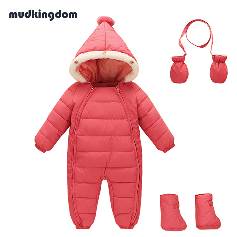 Mudkingdom Baby Boys Girls Winter Clothing Sets Infant Boys Hooded Bodysuits Jumpsuits Warm Gloves Shoes Kids Baby Girl Clothes
