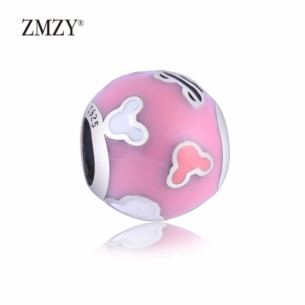 ΞZMZY Authentic 925 Sterling Silver Charms Mikey Pink Enamel Beads ...