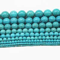 AAA + Natürliche Türkisen Verkrustete Stein Perlen Für Schmuck Machen Glatte Runde Lose Perlen 4/6/8/10 /12mm Für Armband DIY Großhandel Perles