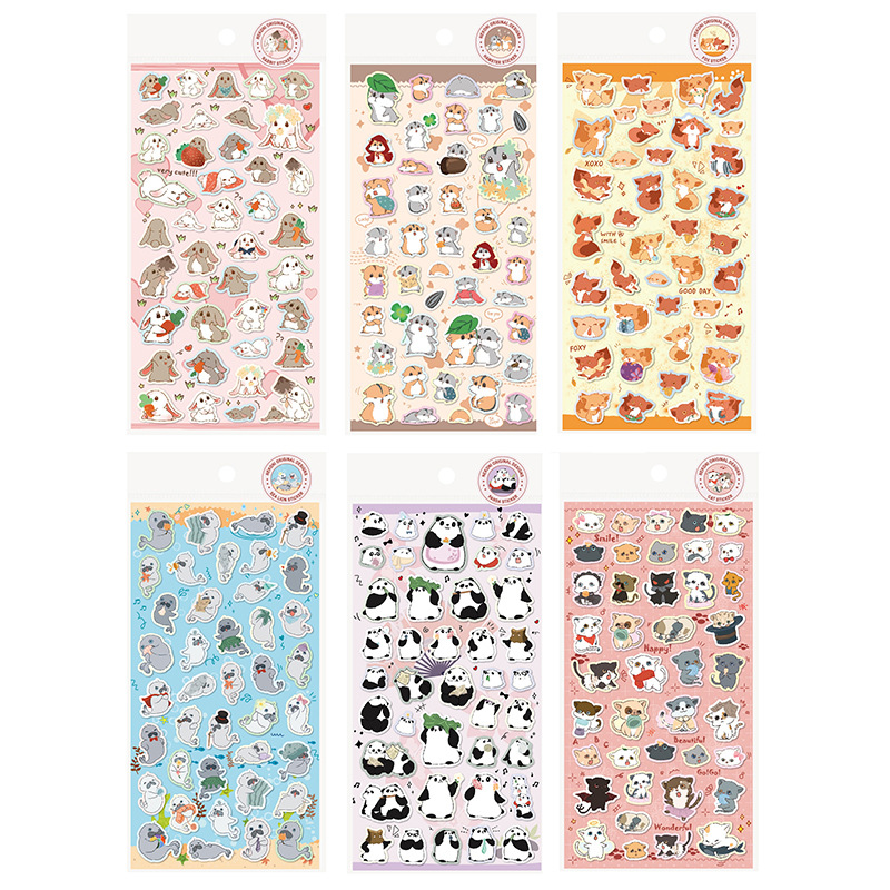Cat Rabbit Panda Cute Beauty Bullet Journal Decorative Stationery Stickers Scrapbooking DIY Diary Album Stick