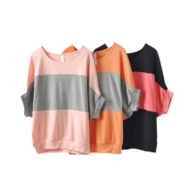 Cotton Contrast Color Striped T-shirt Women O Neck Patchwork Batwing Sleeve Short Sleeve Loose Casual Wild Tee Female T Shirts