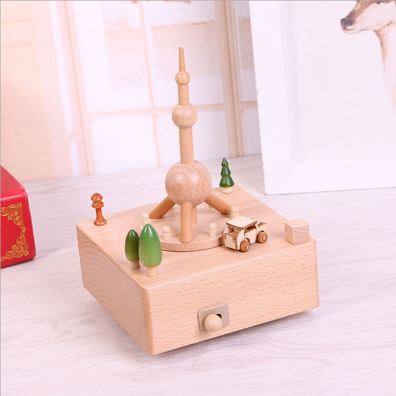1 Piece The Oriental Pearl Tower Music Ofbox Classic Toy For Children Wind Up Toy Clockwork Handmade Creative Birthday Gifts