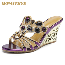 2018 New Exquisite Casual Womens Rhinestone High-heeled Sandals Golden Blue Purple Crystal Leather Shoes Women Party