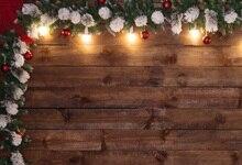 Laeacco Placa De Madeira Ramo de Pinheiro de Natal Decor Backdrops Para Estúdio de Fotografia Fotografia Fundos Fotográficos Personalizados