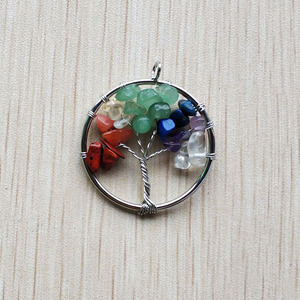 Image 4 - Wholesale 12pcs/lot fashion 7 chakra natural stone Tree of life handmade wire wrapped Pendants 30mm for jewelry marking free