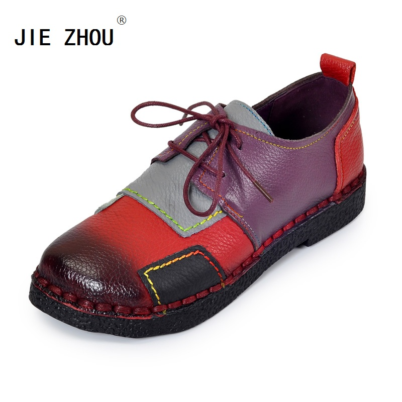 Women s Handmade Shoes Genuine Leather Lace Up Flat Shoes Woman Loafers Soft Comfortable Casual Shoes