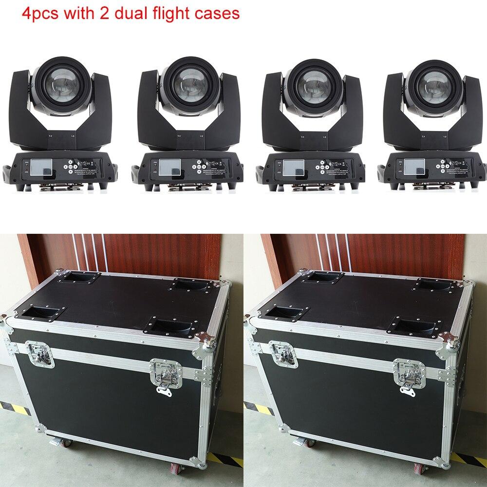 4x com 2 dual casos do vôo 7r feixe de luz sharpy feixe 230 moving head luz dj profissional com 2 prismas com powcon dentro e fora