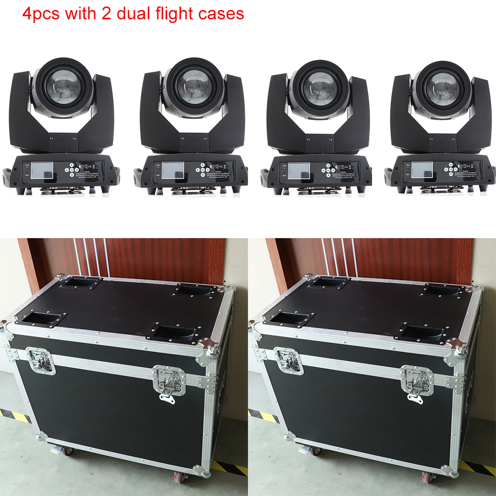 4x With 2 Dual Flight Cases Sharpy Beam 230 7r Light Beam Moving Head Light Professional Dj With 2 Prisms With Powcon In And Out