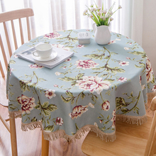 Home Kitchen Dinning Table Cover European Pastoral Style Cotton Linen Tablecloth Round Coffee Bar Restaurant Cloth Decor