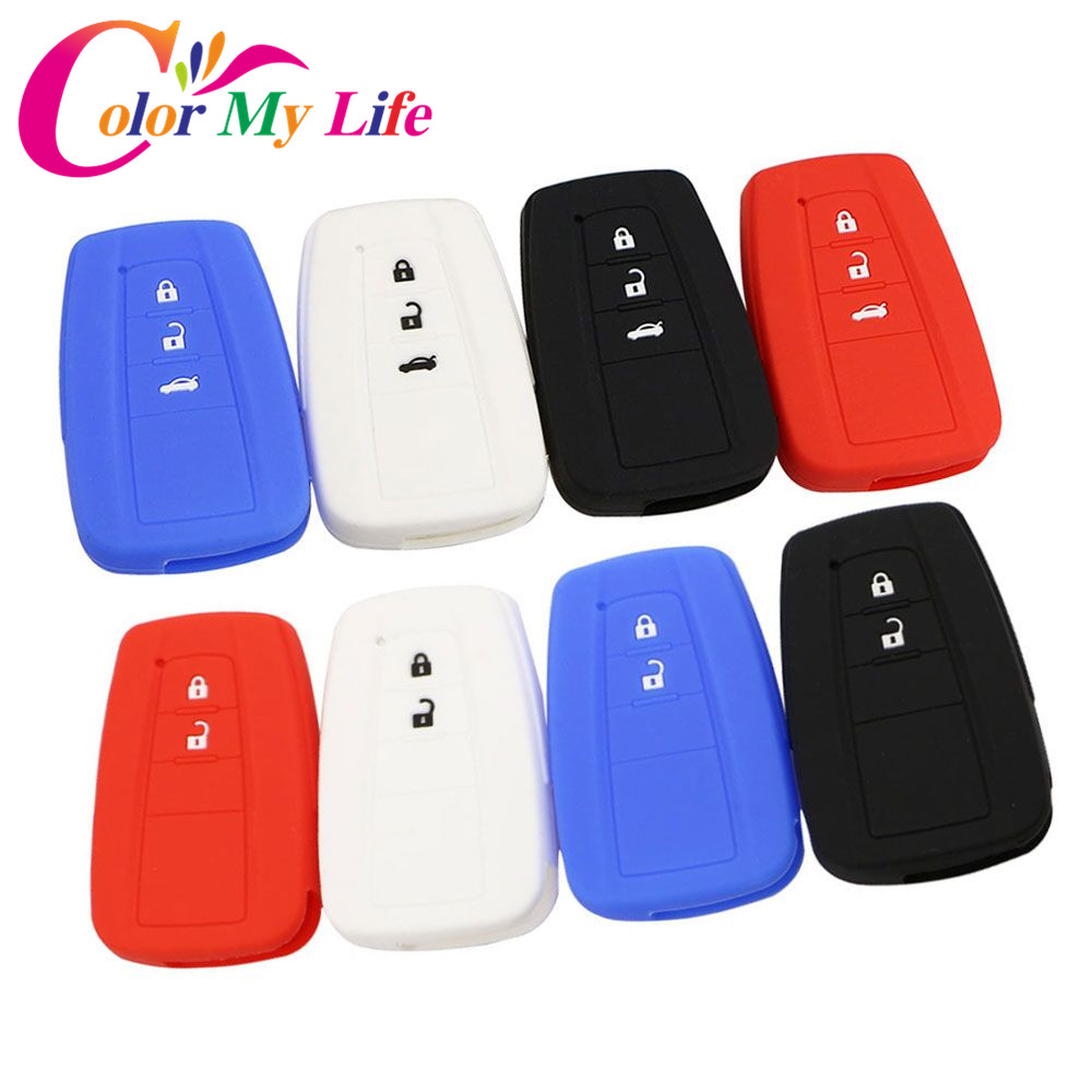 Color My Life Silicone Car Key Fob Cover Case for Toyota CHR C-HR Camry Prius Prado 2016 - 2018 2 3 Buttons Remote Keyless маркер флуоресцентный centropen 8722 1о оранжевый 8722 1о