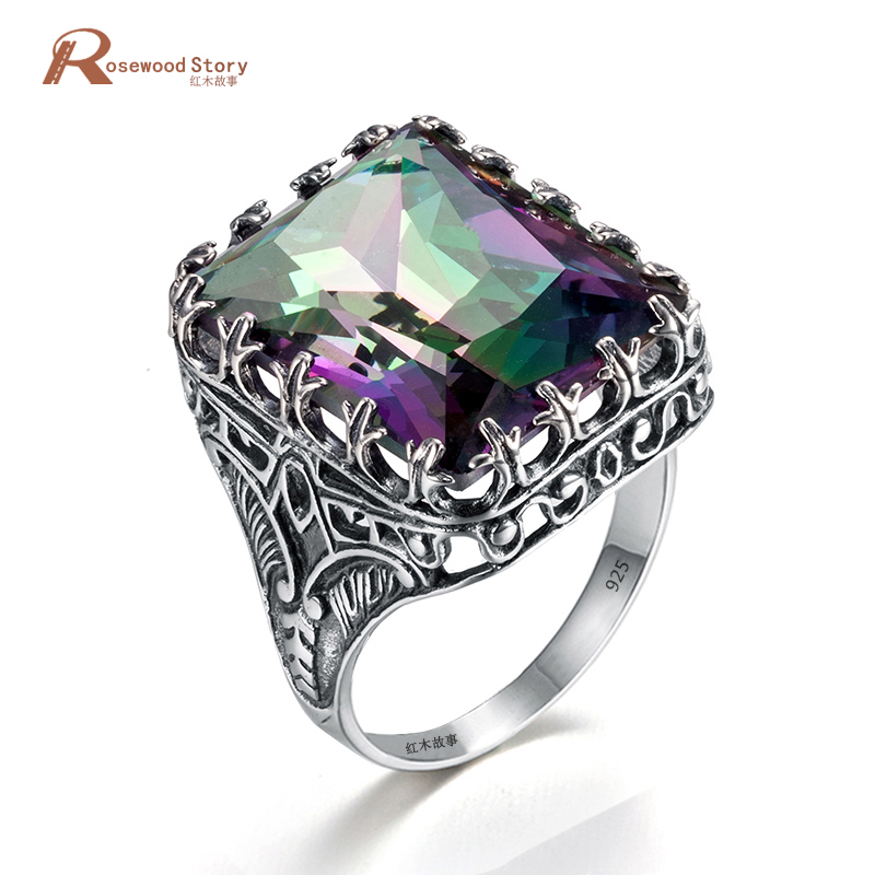 Luxury Palace Wind Rings Square Cut Mystic Fire Rainbow Lab Topaz 925 Sterling Silver Rings Fashion Punk Party Jewelry For WomenLuxury Palace Wind Rings Square Cut Mystic Fire Rainbow Lab Topaz 925 Sterling Silver Rings Fashion Punk Party Jewelry For Women