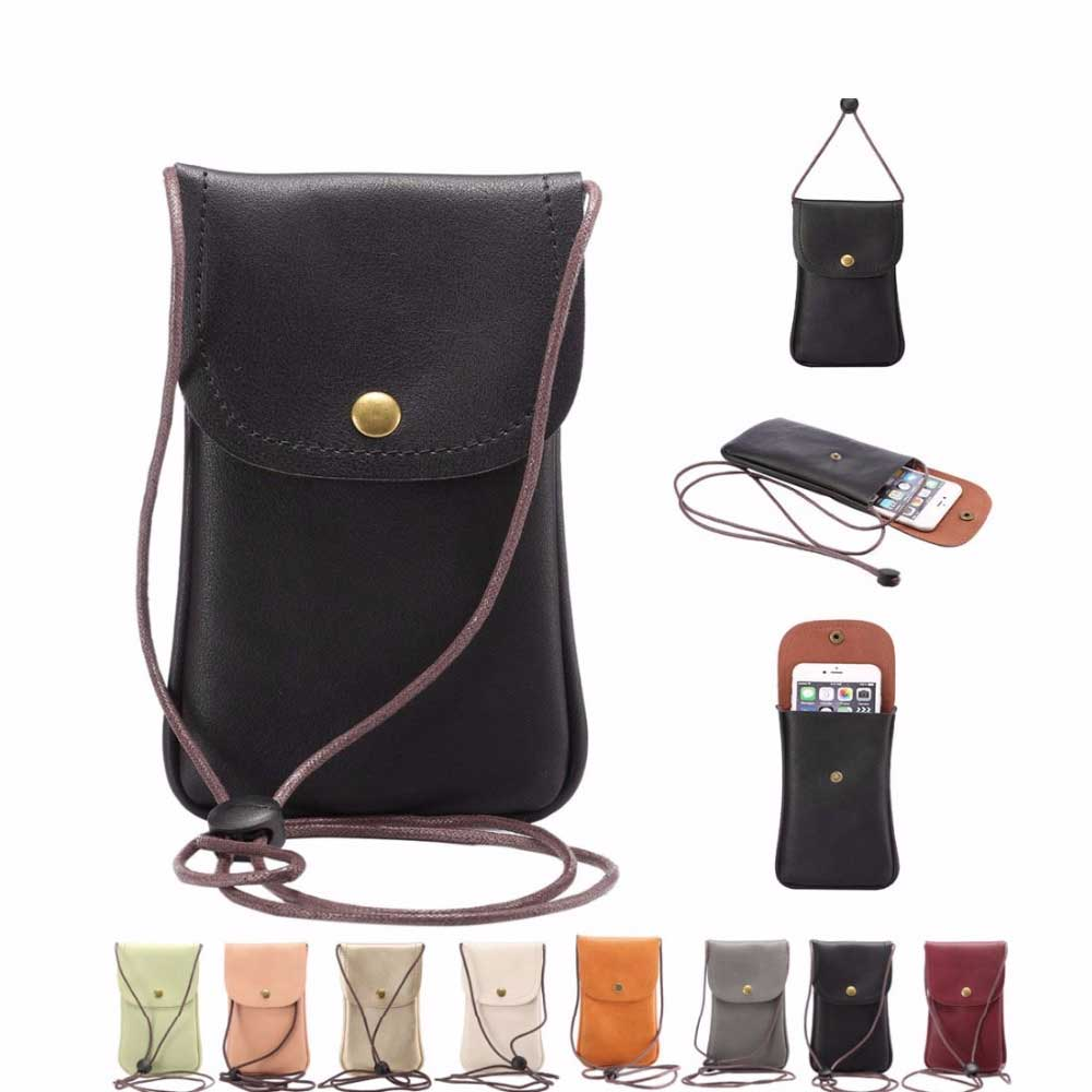 Universal Leather Cell Phone Bag Shoulder Pocket Wallet Pouch Case Neck Strap Fit For Smaller Than 5.7 Inches Phone Model