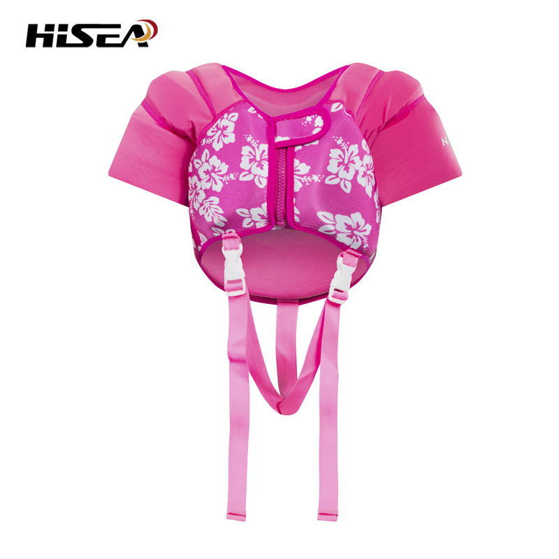 Kids Life Jacket Baby Todder Swimming Vest UPF 50+ Sun UV Protection Pink Floral Printed Neoprene Girls Boys age 1-5Y