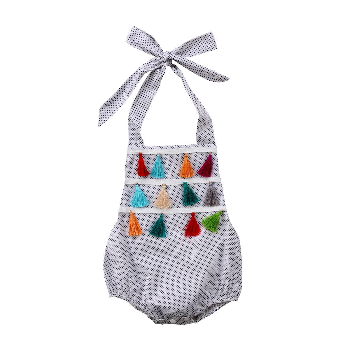 0-24M Newborn Baby Girl   Romper   Sleeveless Cotton Clothes Cute Dot Tassel Babies Summer Outfit Sunsuit Jumpsut 2018 New