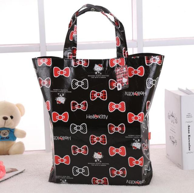 9829bb252e women cute Shopping bag Hello Kitty my melody cartoon handbag bag for  ladies girls women non-woven fabric material