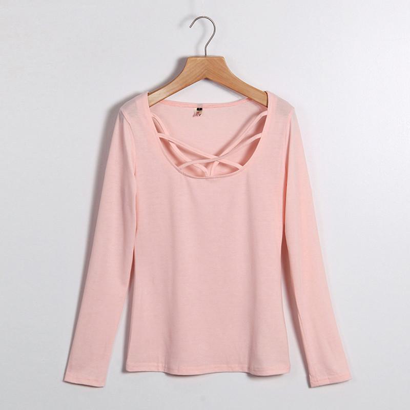 Kobiety Koszulki Z Długim Rękawem Topy Hollow Out Bandaż Swetry Slim Sexy Topy Tees Blusas plus size LJ4515M Femme 10