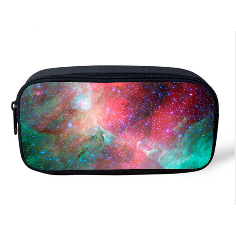 Vintage Make Up Cosmetic Bag Multicolor Galaxy Star Pen Pouch Multifunction School Children Boys Girls Pencil Bag Makeup Holder  multifunction cosmetic cases women make up bag punk skull print kids boys pencil pen bag for school boys girls stationary holder