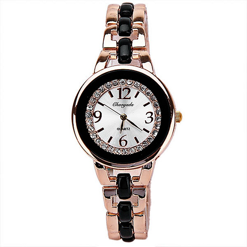 2016 New Brand Chaoyada Classics Double Black White Watch Rose Gold Bracelet Watches Set Couple fashion and casual wristwatch 2016 new watch creative fashion lady love rose gold bracelet watch korea version of the trend of personalized watches