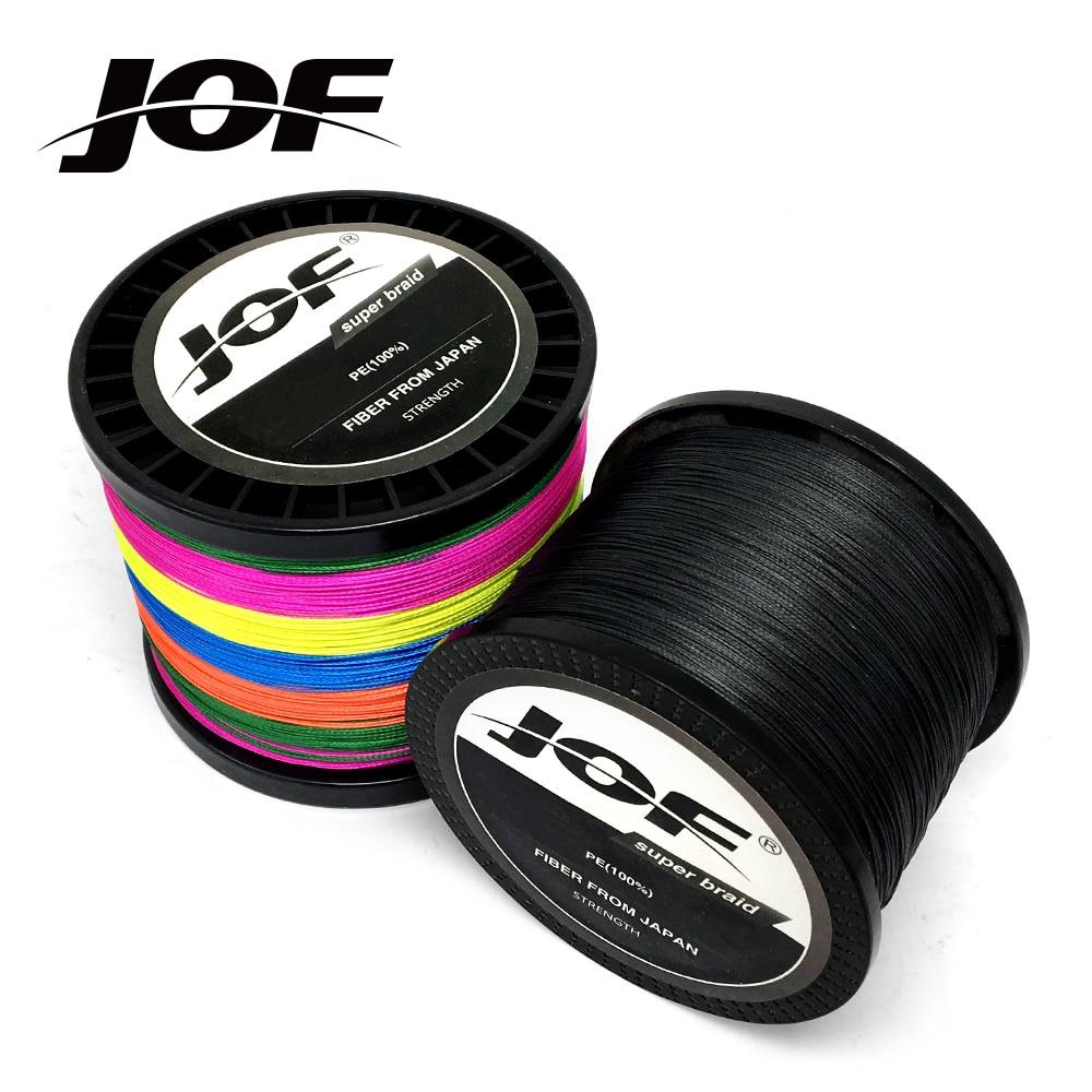 JOF 300 M 500 M 1000 M 8 hilos 4 hilos 10-80LB PE de pesca trenzada de alambre de multifilamento Super fuerte de pesca línea de Japón Multicolor