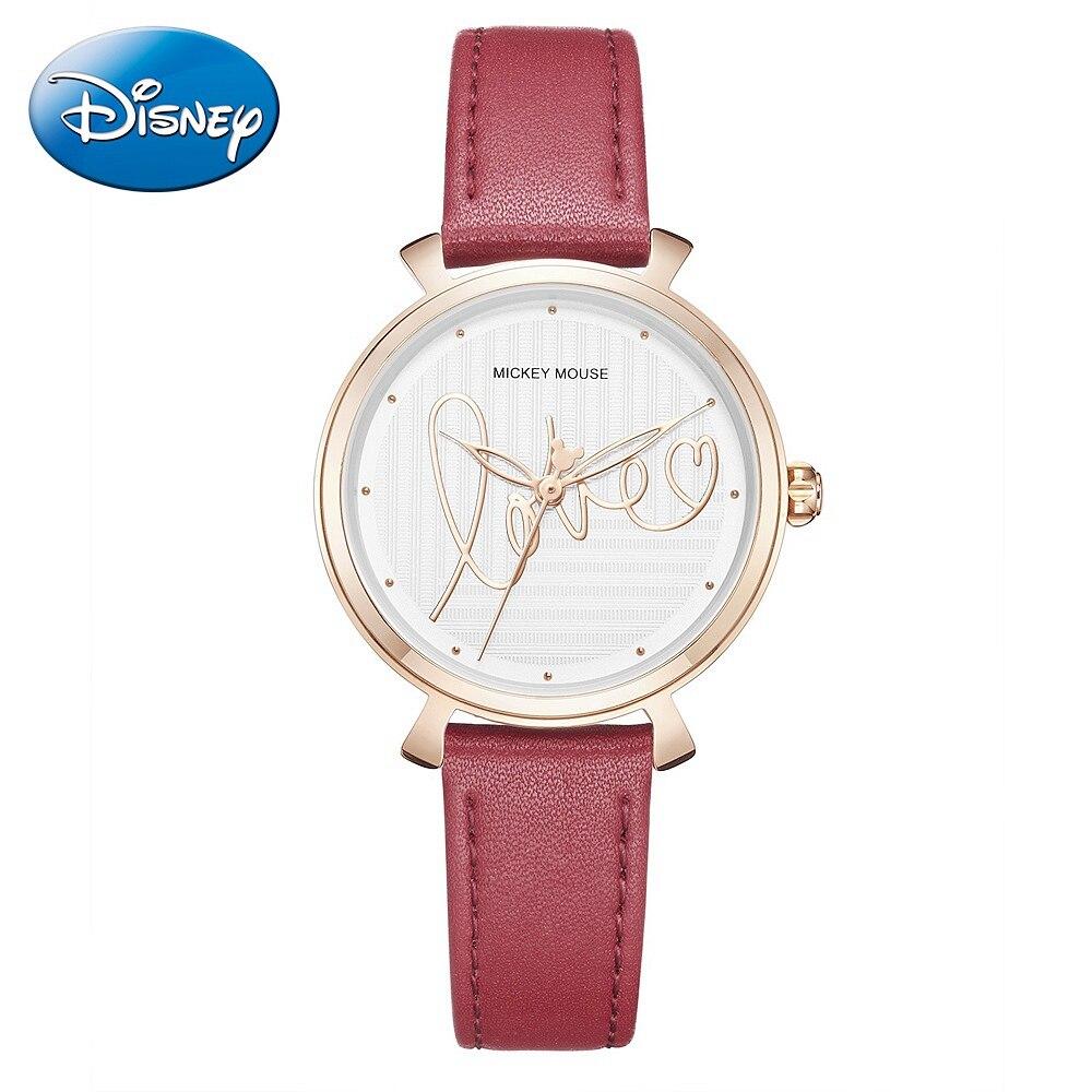 Disney Mickey Mouse dames amour bande de cuir montres à Quartz femmes ronde mode Simple filles luxe montre-bracelet Top tout neuf