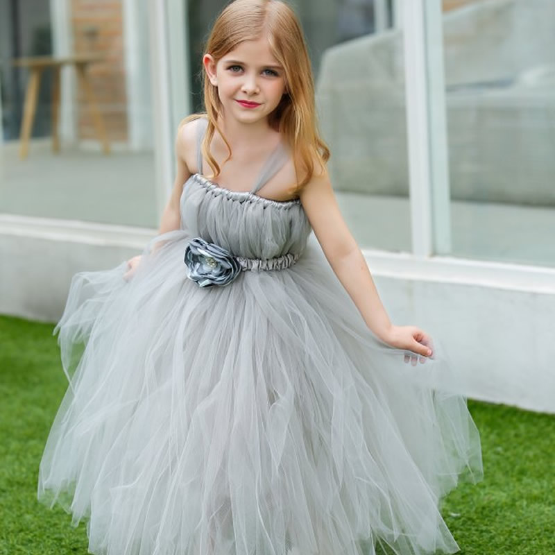 Top quality Princess tutu Flower Children Girl Dresses Light gray Flower 2-14Y Fashion Draped Ball Gown Evening Dress Kids prom 2018 top quality and noble flower girl dresses calcined flower flower 2 12year pretty draped ball gown evening dress kids prom