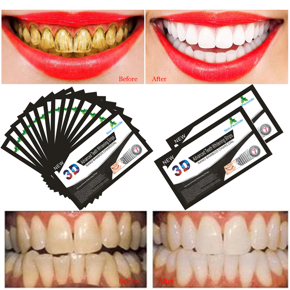 Oral Hygiene Teeth Whitening 14 Pairs 3d Teeth Whitening Strips Perfect Smile Veneers Bamboo Charcoal Tooth Whiten Patch Hot Selling Dental Tools Tslm2