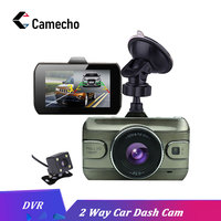 Camecho Car DVR 3 Inch Dual Lens Camera Dashcam FHD 1080P 170 Degree Registrator Recorder Backup Rearview Cameras Night Vision
