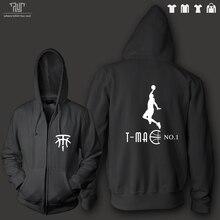 TMAC McGrady logo design men unisex zip up hoodie heavy hooded sweatshirt 100% organic cotton fleece inside Free Shipping