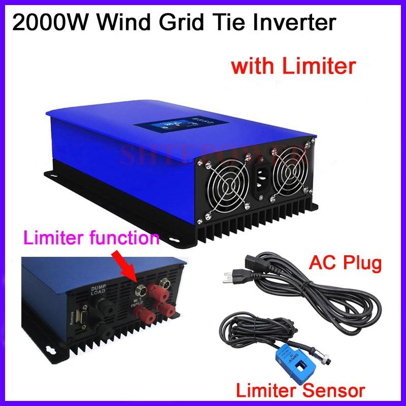 цена на New 2000W wind inverter with inter limiter sensor 3 phase ac 45-90V input to 220V 230V output 2Kw dump load resistor