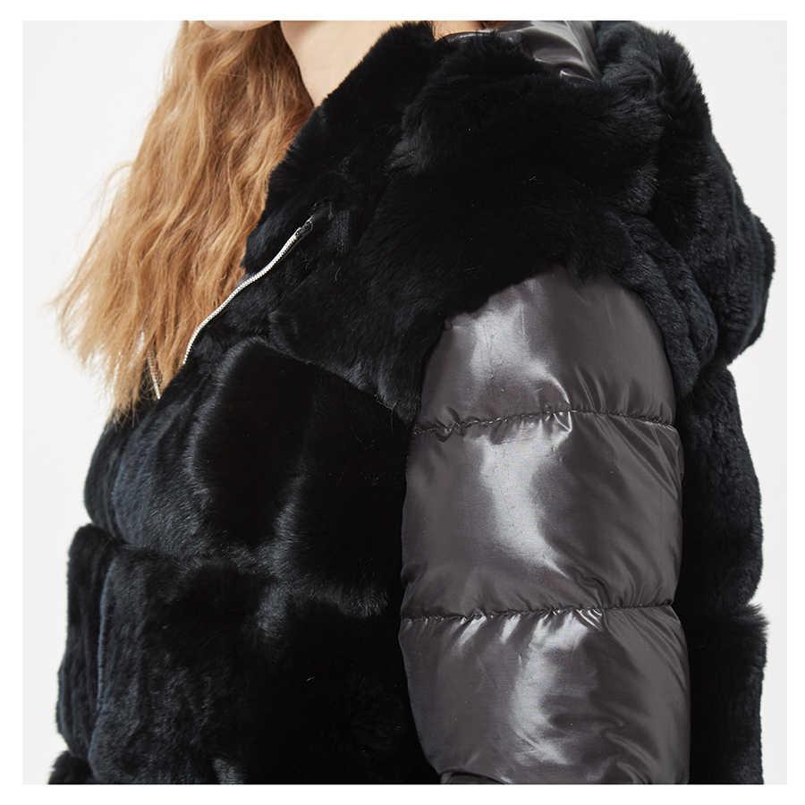 Echte Rex Konijn Bontjas Met Kap Down Jas Jas Mouwen Sportieve Fashion Real Fur Jacket Hooded