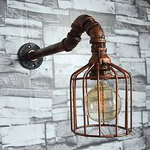 2017 New Retro Waterpipe Iron Cage Wall Light Lamp Rust Vintage Loft E27/E26 Edison Wall Lights Warehouse Barn Wall Sconces