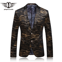 Mens Leopard Print Blazer Stage Costumes For Singers Vintage Prom Suit Men Black And Gold Masculino Maillot Homme Q62