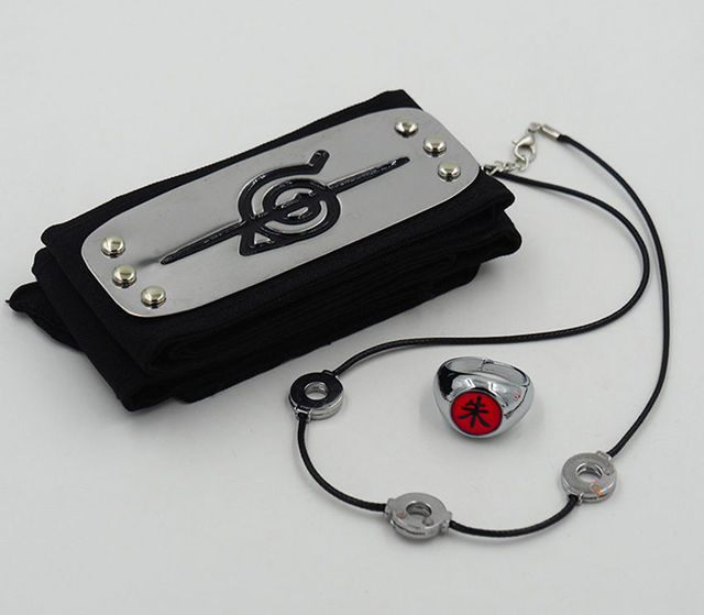 Naruto headband+necklace+Ring 3pcs Weapons Costume Props