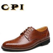 CPI Fashion design Business men's dress leather shoe Crocodile stripes Breathable Comfortable Men Wedding Dress Shoes  CC-01