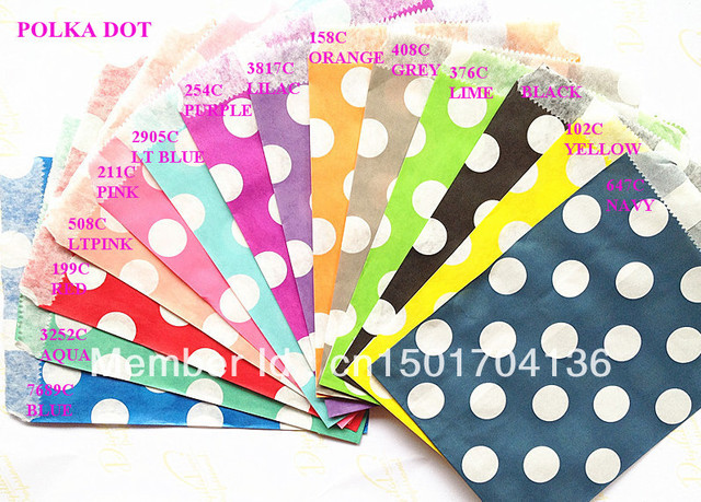 "14 Colors Mix Polka Dor 1400pcs  5""x7"" (12.7cm x 17.7cm) Party Supplies party favor Bags Candy Paper Goods Bag kraft bags"