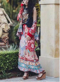 цена на High Waist Location Floral Peacock Print Skirt Vintage 2019 New Women Side Slit Midi Long length A-Line Skirts Femme