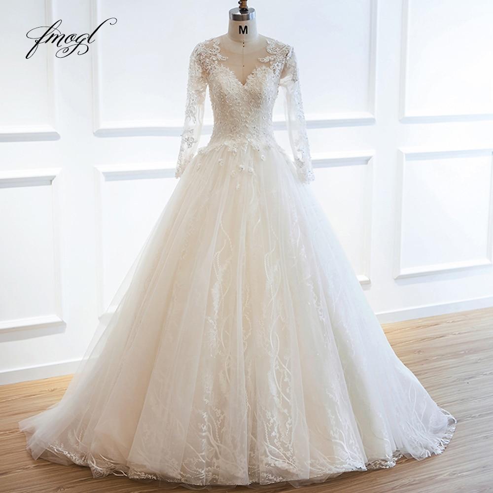 Fmogl Appliques Long Sleeve Lace Wedding Dresses 2019 Beaded Sequined A Line Vintage Bride Dress Robe De Mariage Plus Size