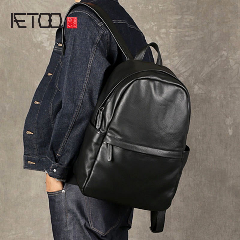 AETOO The first layer of leather men's shoulder bag leather computer bag casual trend travel backpack simple soft leather bag aetoo leather shoulder bag men s leather backpack multi functional computer bag travel casual korean students bags