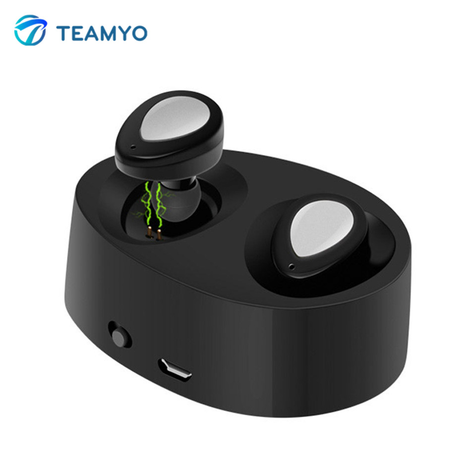 Teamyo K2 TWS Mini Bluetooth Earphone fone de ouvido Wireless bluetooth Stereo Headset with Mic Charging Box Dock Earpiece mini stereo car bluetooth headset wireless earphone bluetooth handsfree car kit with 2 usb base charging dock
