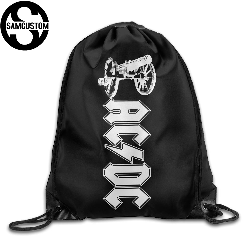 Samcustom Acdc Music 3d Print Shoulders Bag Fabric Backpack Men And Women Port Drawstring Travel Shoes Dust Storage Bags