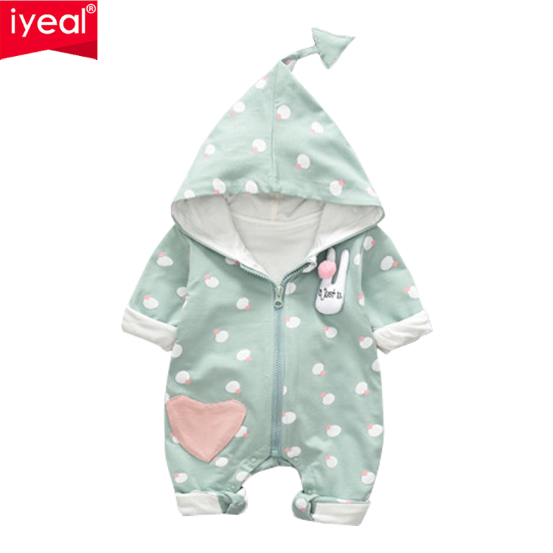 IYEAL Baby Rompers Autumn Long Sleeve Newborn Baby Boy Girl Jumpsuit Cotton Baby Clothes Hooded Infant Cute Clothing zofz baby girls clothing newborn baby boy girl clothes long sleeve cartoon printed jumpsuit baby romper for baby boy clothing